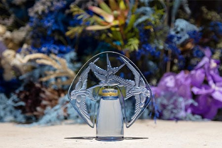 For the 100th anniversary of the René Lalique's Villa, the Hirondelles perfume bottle is re-issued for a Collector Edition